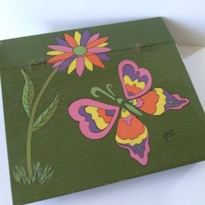 VTG 60s/70s Hand Painted Groovy Butterfly Lap Desk